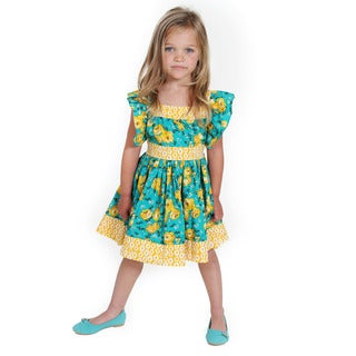 Girl's 1692 Multicolor Cotton Georgia English Rose Woven Dress