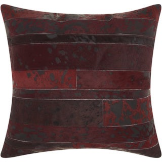 Mina Victory Natural Leather and Hide Acid Wash Wine Throw Pillow by Nourison (20 x 20-inch)