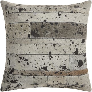 Mina Victory Natural Leather and Hide Acid Wash Silver Throw Pillow by Nourison (20 x 20-inch)