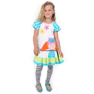 Girls' Hooting Owl Cotton Dress and Legging Set