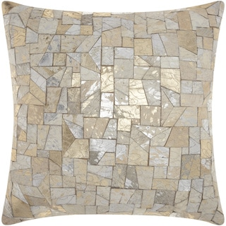 Mina Victory Natural Leather and Hide Mosaic Cut Metallic White Throw Pillow by Nourison (20 x 20-inch)