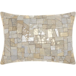 Mina Victory Natural Leather and Hide Mosaic Cut Metallic White Throw Pillow by Nourison (14 x 20-inch)