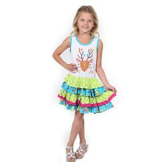 Girl's Multi-color Cotton Deerhead Dress