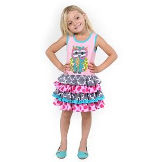 Girl's Multicolor Cotton Owl Applique Dress