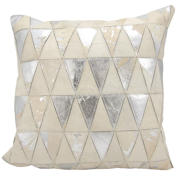 Mina Victory Natural Leather and Hide Triangles White/ Silver Throw Pillow by Nourison (20 x 20-inch)