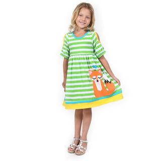 Girl's Multicolored Cotton Short-sleeved Sitting Fox Dress