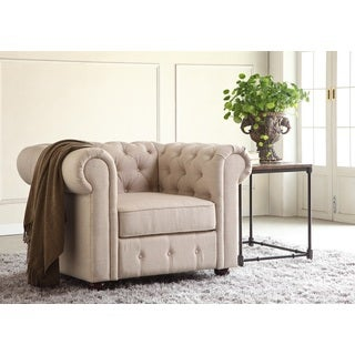 Garcia Beige Hand-tufted Rolled Armchair