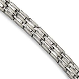 Versil Chisel Men's Stainless Steel Brushed and Polished 8.75-inch Bracelet
