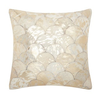 Mina Victory Natural Leather and Hide Metallic Balloons White/ Gold Throw Pillow by Nourison (20 x 20-inch)