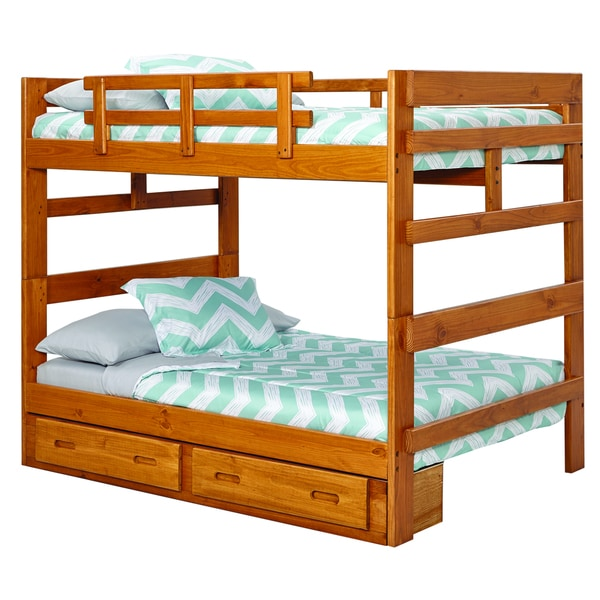 Heartland collection pine wood full over full bunk bed with under bed drawers free shipping - Loft bed with drawers underneath ...