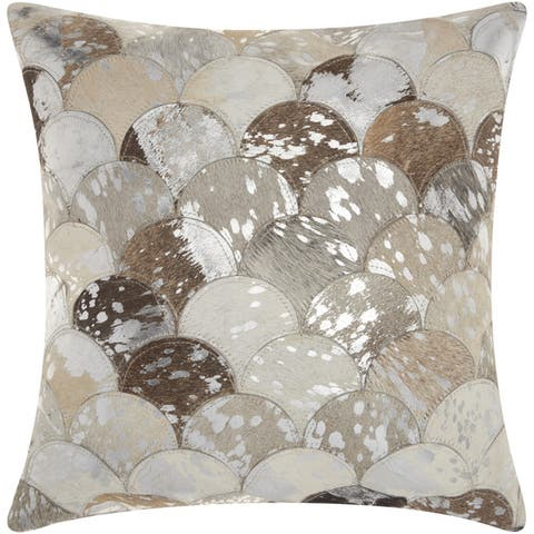 Mina Victory Natural Leather and Hide Metallic Scalloped Silver/Grey Throw Pillow by Nourison (20-Inch X 20-Inch)