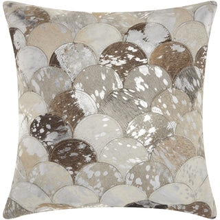 Mina Victory Natural Leather and Hide Metallic Balloons Silver/ Grey Throw Pillow by Nourison (20 x 20-inch)