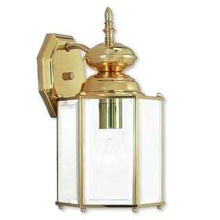 Livex Lighting Outdoor Basics Polished Brass Outdoor Wall Lantern