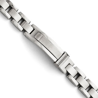 Versil Chisel Men's Stainless Steel Brushed and Polished Cubic Zirconia 8.25-inch Bracelet