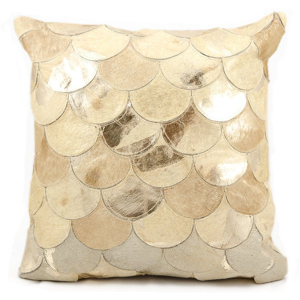 Mina Victory Natural Leather and Hide Metallic Balloons Beige/ Gold Throw Pillow by Nourison (20-Inch X 20-Inch)