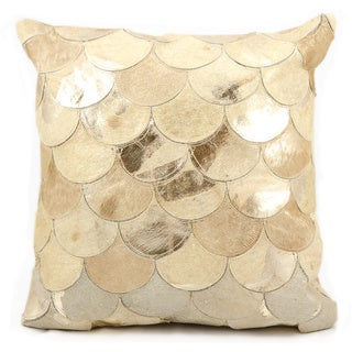 Mina Victory Natural Leather and Hide Metallic Balloons Beige/ Gold Throw Pillow by Nourison (20 x 20-inch)