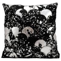 Mina Victory Natural Leather and Hide Metallic Balloons Black/ Silver Throw Pillow by Nourison (20 x 20-inch)