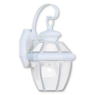 Livex Lighting Monterey 2051-03 White Brass 7-inch x 12.5-inch x 7.5-inch 1-light Outdoor Wall Lantern