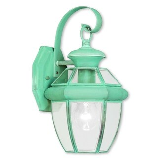 Livex Lighting Monterey 2051-06 Green Brass 7-inch x 12.5-inch x 7.5-inch 1-light Verdigris Outdoor Wall Lantern