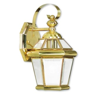 Livex Lighting Georgetown Polished Gold Brass 1-Light Outdoor Wall Lantern