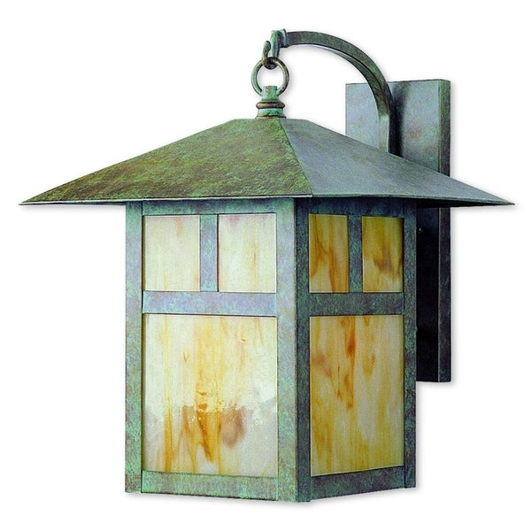 Livex Lighting Montclair Mission Green Patina Finish Brass 1-light Hanging Outdoor Wall Lantern