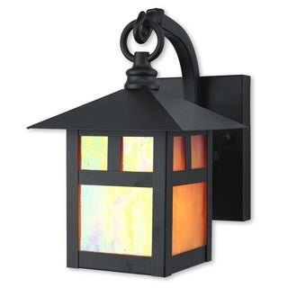 Livex Lighting Montclair Mission Brown Brass 1-Light Hanging Outdoor Wall Lantern