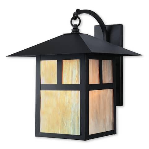 Livex Lighting Montclair Mission 2137-07 Bronze Finished Brass 13-inch x 17-inch x 15.5-inch 1-light Outdoor Wall Lantern