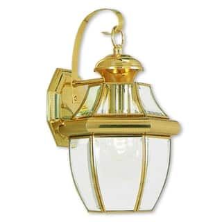 Brass outdoor lighting for less overstock livex lighting monterey gold polished brass 1 light hanging outdoor wall lantern workwithnaturefo