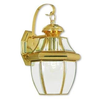 Brass Outdoor Light Fixtures Brass outdoor lighting for less overstock livex lighting monterey gold polished brass 1 light hanging outdoor wall lantern workwithnaturefo