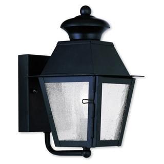 Livex Lighting Mansfield Black Brass 1-light Outdoor Wall Lantern