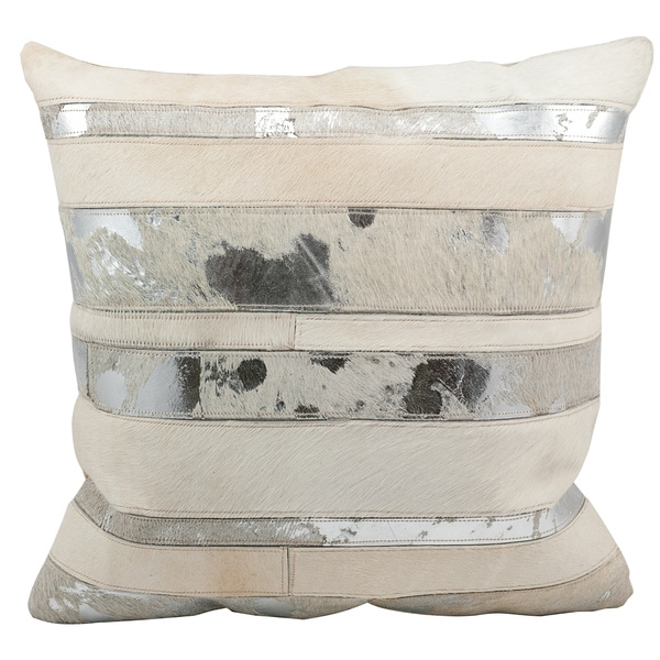 Mina Victory Natural Leather and Hide Mix Stripes White Throw Pillow by Nourison (20 x 20-inch)