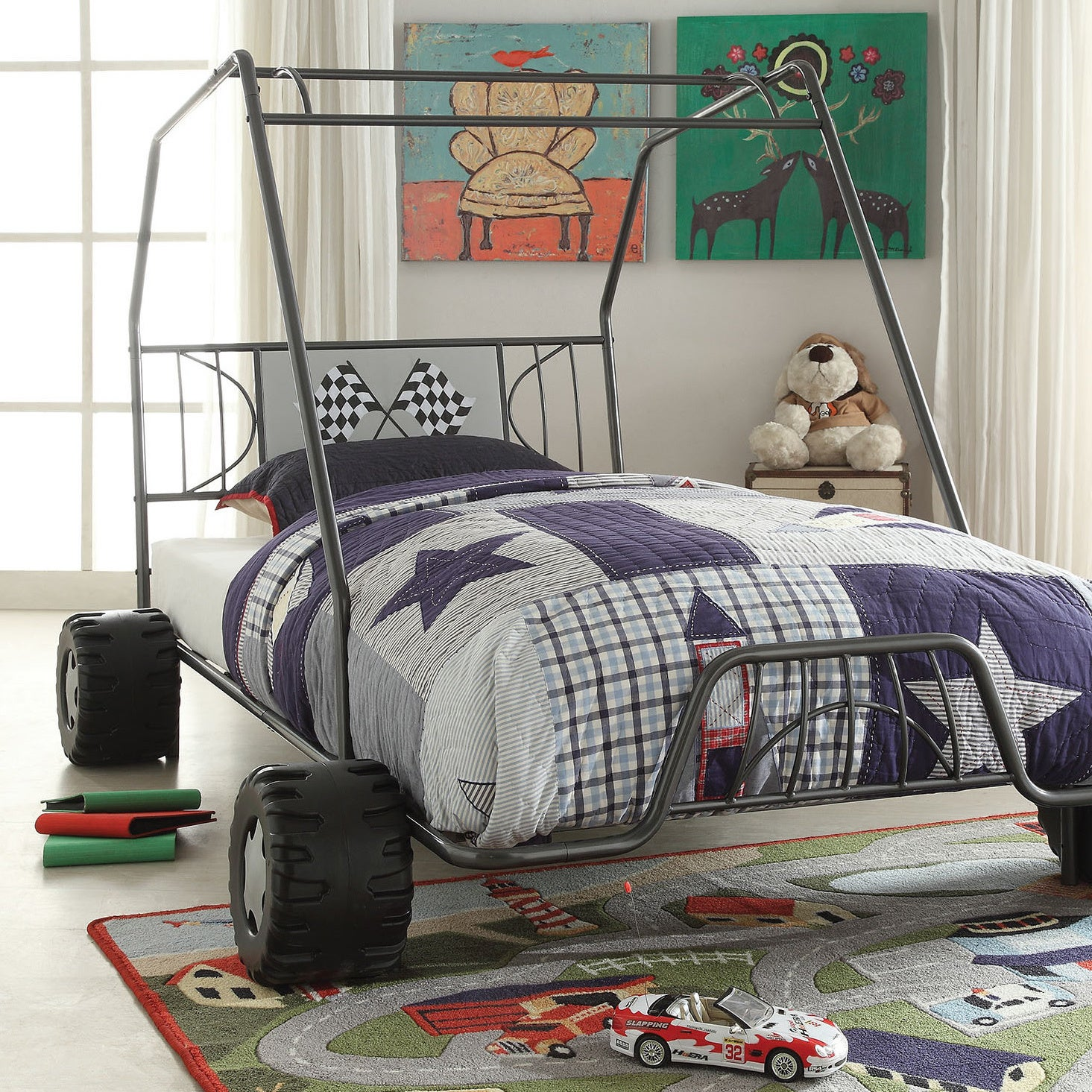 "ACME Xander Gunmetal Twin Bed (Gunmetal, 84""L x 56""W x 51..."