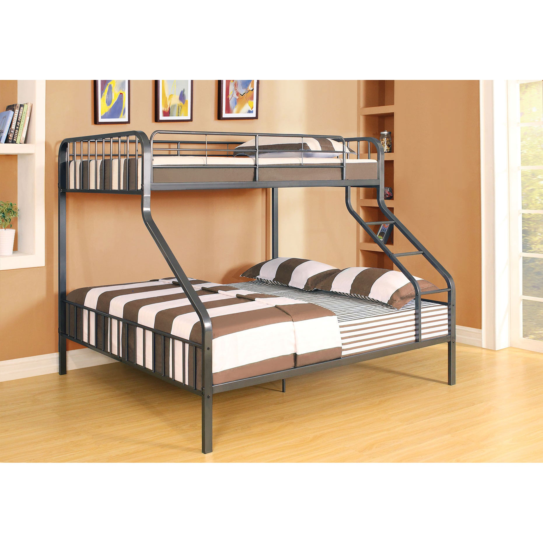 Picture of: Caius Gunmetal Twin Xl Queen Bunk Bed On Sale Overstock 12033438