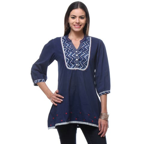 Handmade In-Sattva Women's Blue Cotton Short Kurta Tunic (India)