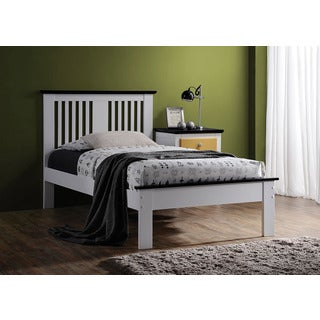 Brooklet White and Black Poplar Wood Twin Bed