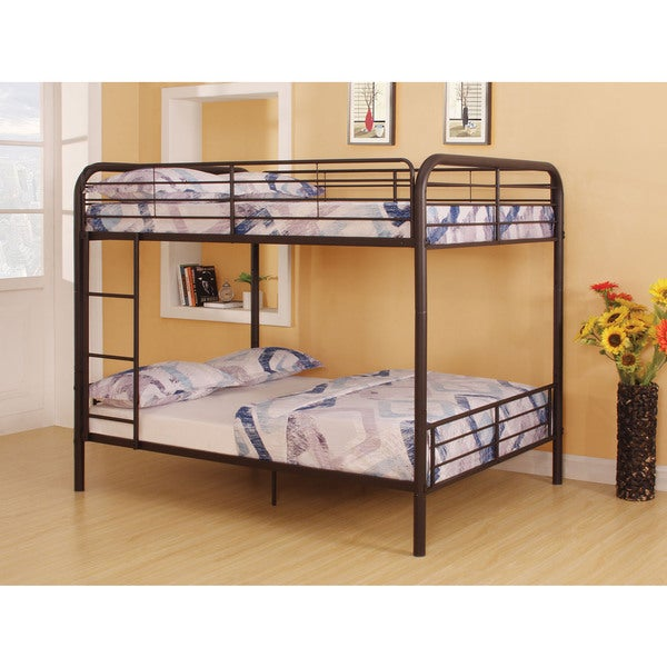 Bristol brown metal full over full bunk bed free for Furniture of america pello full over full slatted bunk bed