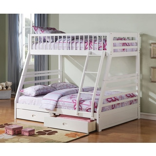 Jason 37040 White Metal Twin over Full Bunk Bed with 2-drawer Underbed Storage
