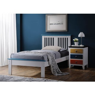 Brooklet White and Blue Wood Twin Bed