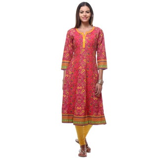 In-Sattva Women's Pink Cotton Floral Print Kurta Tunic