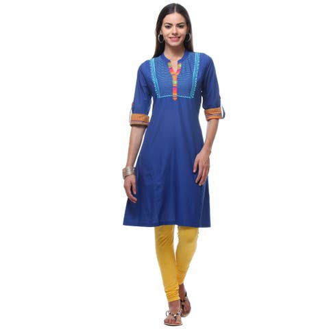 Handmade In-Sattva Women's Blue Cotton Tunic with Printed Placket and Rolled Up Sleeves (India)