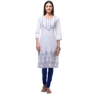 In-Sattva Women's Blue/White Cotton Print Kurta Tunic