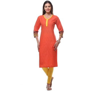 In-Sattva Women's Orange/Yellow Cotton Kurta Tunic with Trim