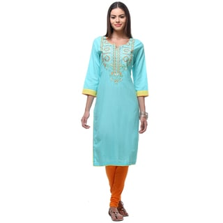 In-Sattva Women's Indian Graceful Pastel Floral Kurta Tunic