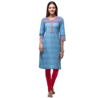 In-Sattva Women's Indian Triangle-patterned Kurta Tunic