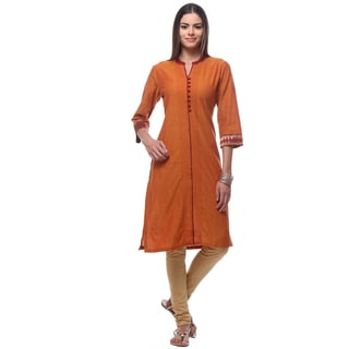 In-Sattva Women's Indian Classic Kurta Tunic with Button Detailing