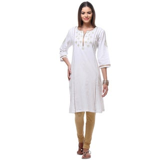 Handmade In-Sattva Women's Indian White Kurta Tunic with Delicate Gold Trim (India)