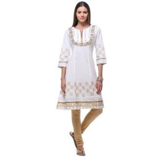 In-Sattva Women's White/Gold Cotton Kurta Tunic