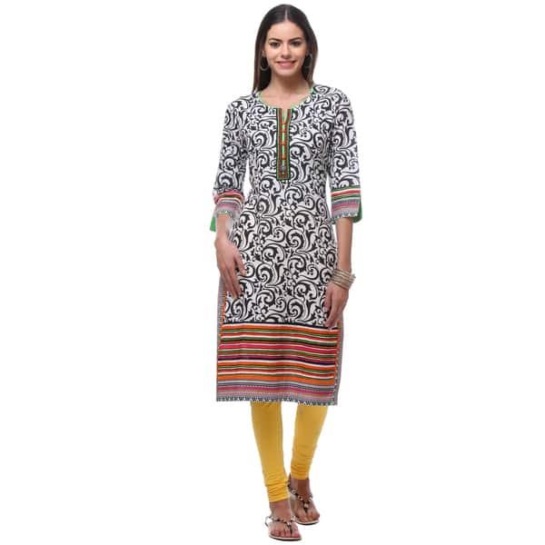 ba4bcb4c5ed Handmade In-Sattva Women's Indian Black/White Cotton Swirl Pattern Kurta  Tunic (India