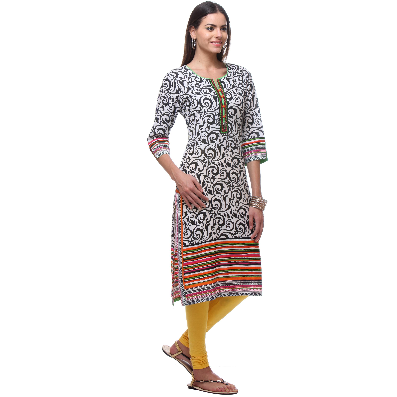 1e19e42689a Handmade In-Sattva Women's Indian Black/White Cotton Swirl Pattern Kurta  Tunic (India)