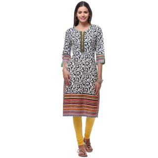 In-Sattva Women's Indian Black/White Cotton Swirl Pattern Kurta Tunic